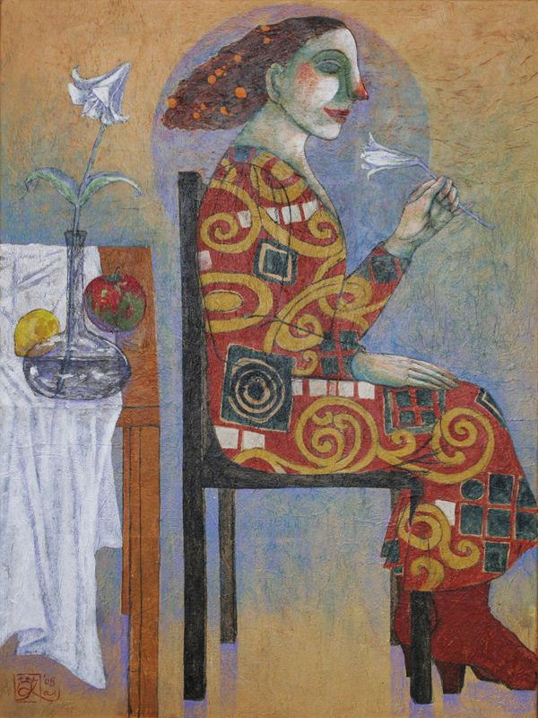 <Interior with lily> <百合のインテリア> 2008 [Private collection]
